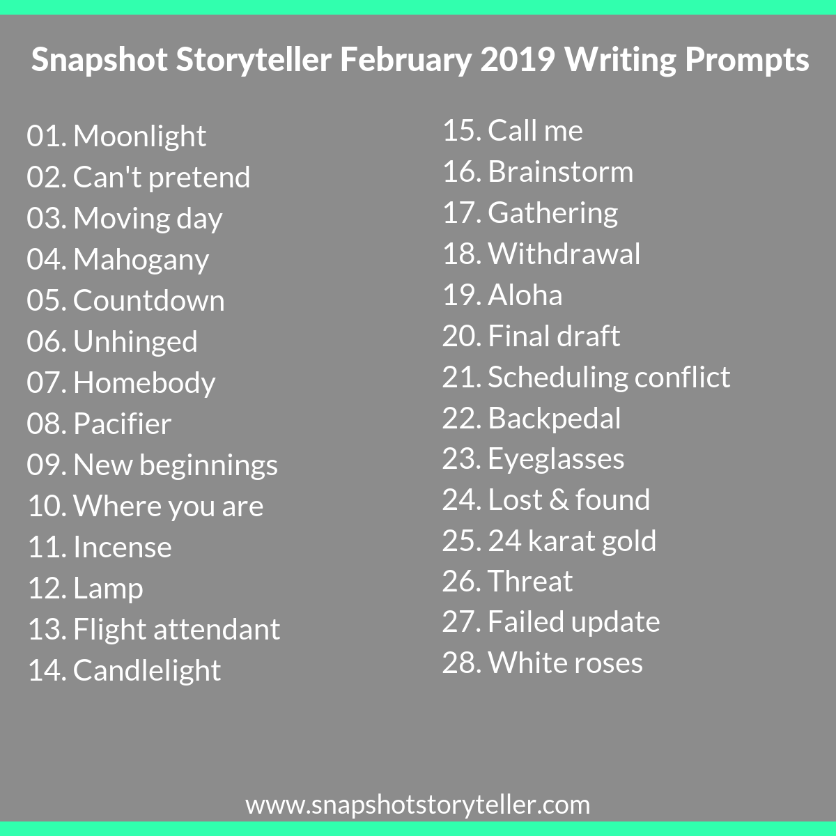 "Snapshot Storyteller | ""February 2019 Writing Prompts"" 