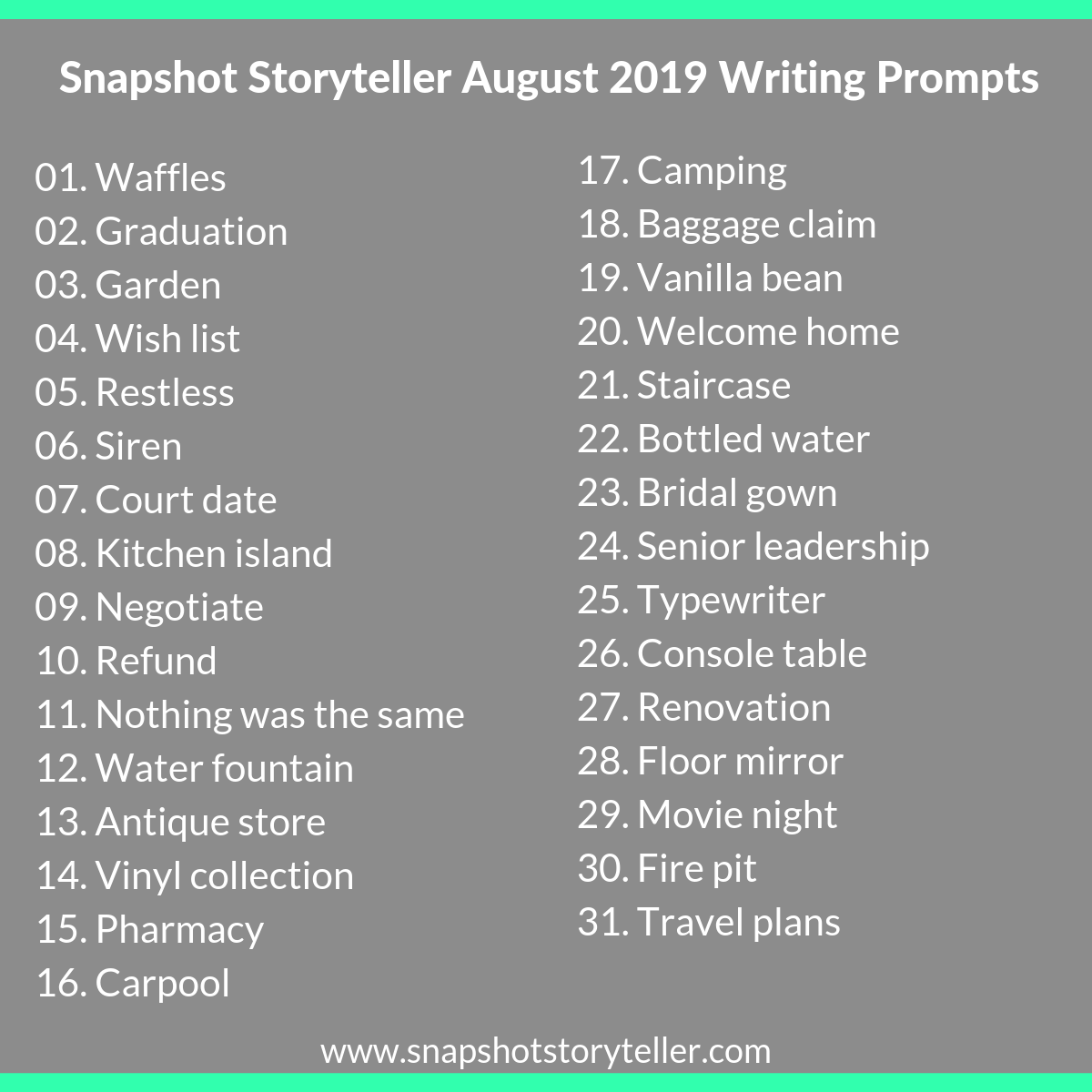 "Snapshot Storyteller | ""August 2019 Writing Prompts"" 