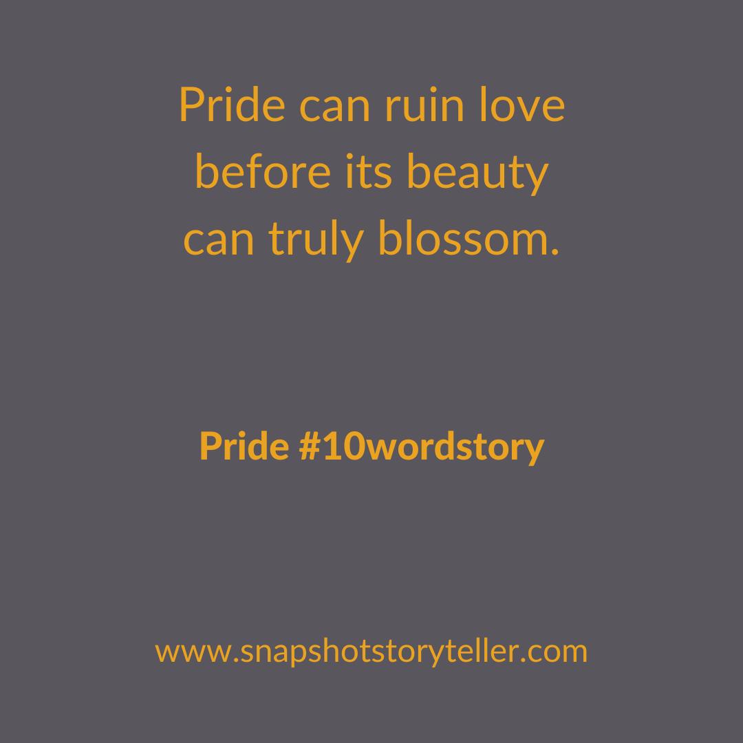 Snapshot Storyteller | Pride #10wordstory | www.snapshotstoryteller.com | #amwriting #SnapshotStoryteller #creativestoryteller #creative #storyteller #creativewriter #IWrite #WriteOn #writersofinstagram#storytellersofinstagram #10wordstory #10wordstories
